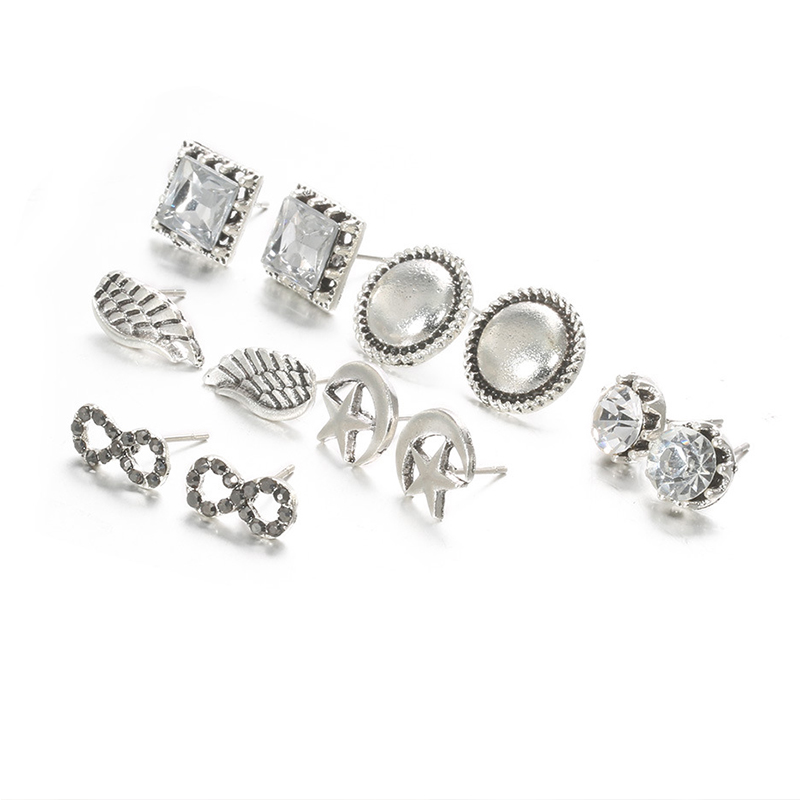 Lovely Trendy Make Old 6 Pairs Silver Earring