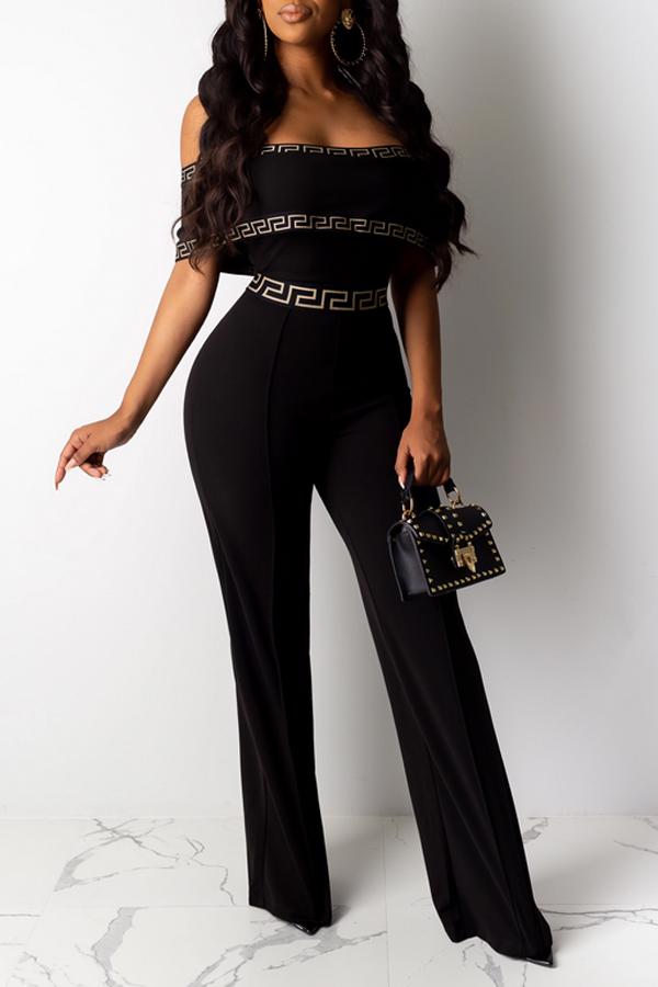 Lovely Trendy Dew Shoulder Black One-piece Jumpsuit