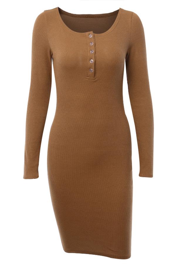 Lovely Casual Skinny Brown Mini Dress