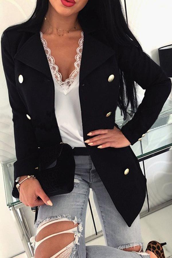Lovely Work Buttons Design Black Blazer