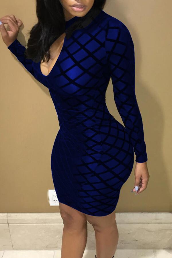 Lovely Chic Printed Skinny Royal Blue Mini Dress