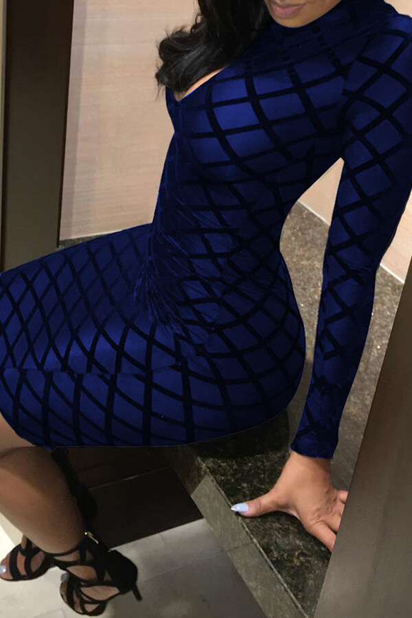 Lovely Chic Printed Skinny Royal Blue Mini Dress