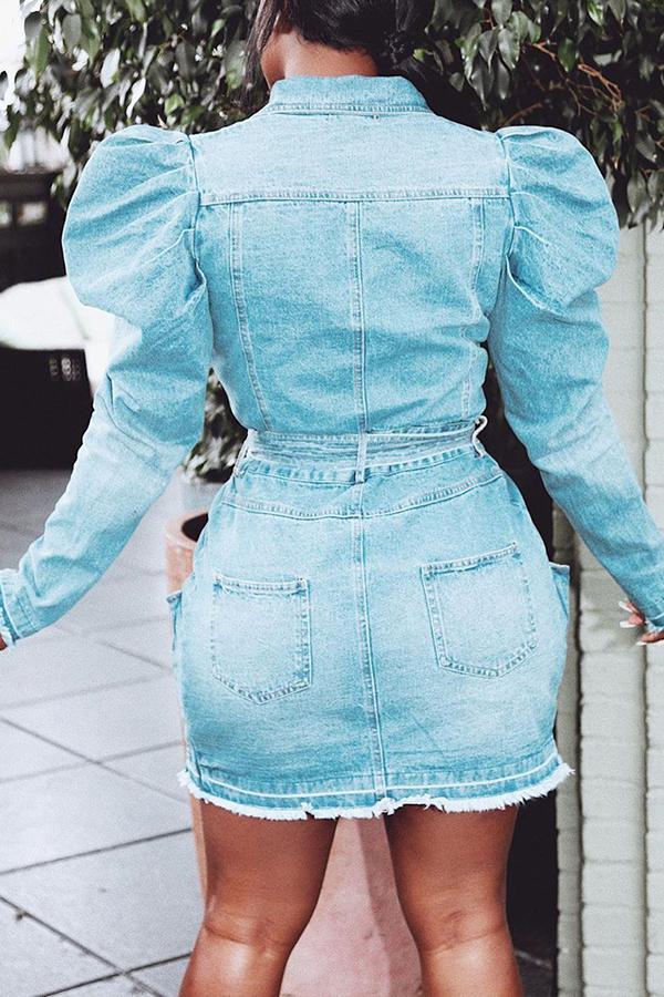 Lovely Casual Turndown Collar Buttons Design Blue Mini Dress