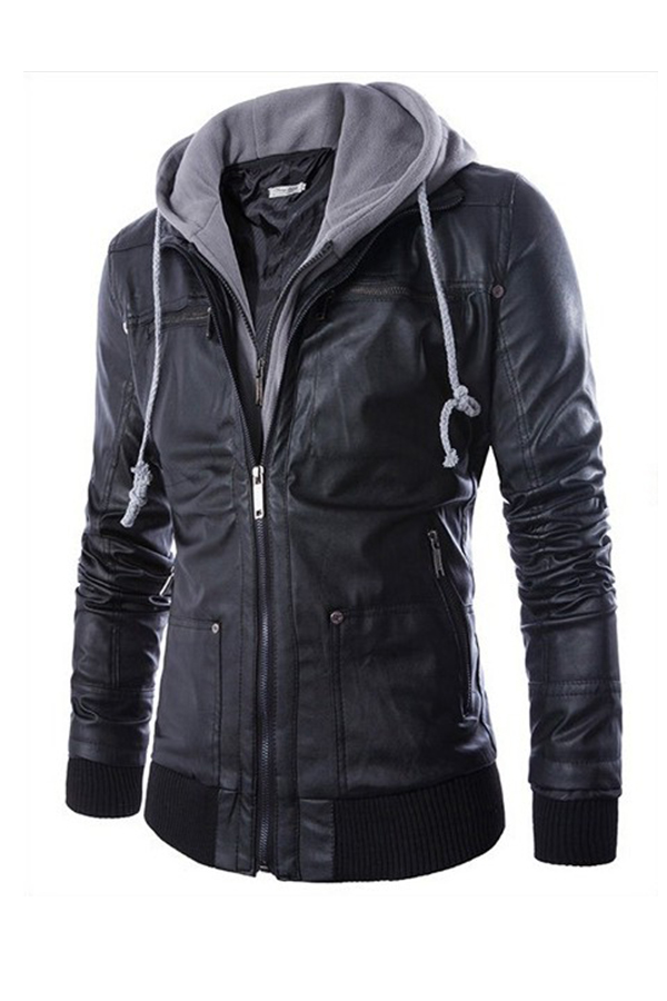 Lovely Casual Hooded Collar Patchwork Black Leather