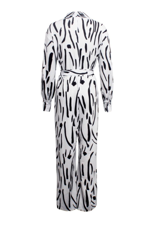 Lovely Trendy Printed White One-piece Jumpsuit