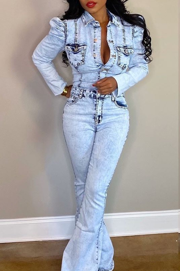 Lovely Trendy Buttons Design Blue One-piece Jumpsuit