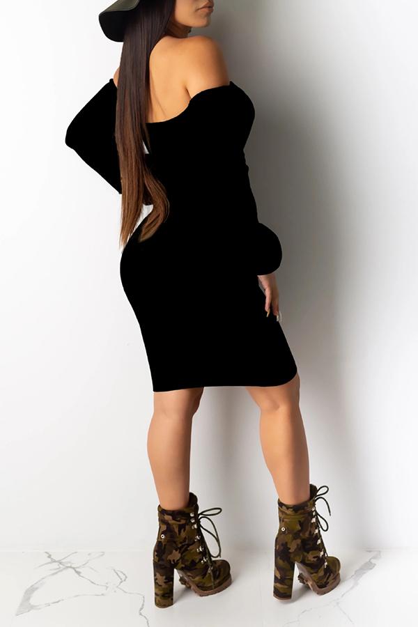 Lovely Sweet Bandage Design Black Mini Dress