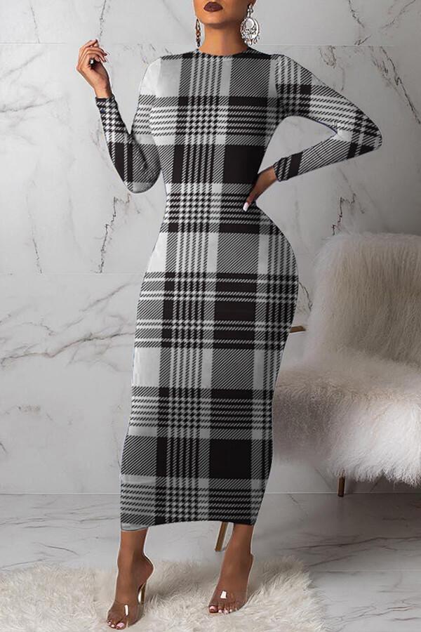Lovely Trendy Grid Printed Black Ankle Length Dress