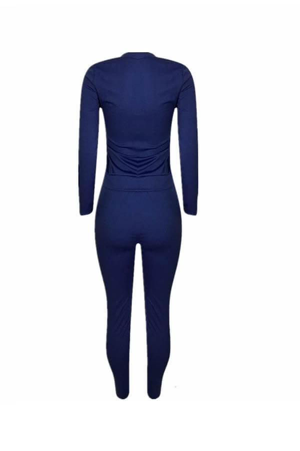 Lovely Trendy Basic Deep Blue Two-piece Pants Set