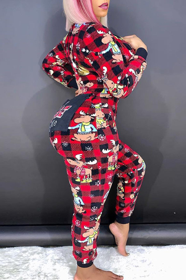 Lovely Christmas Day Plaid Printed Black And Red One-piece Jumpsuit