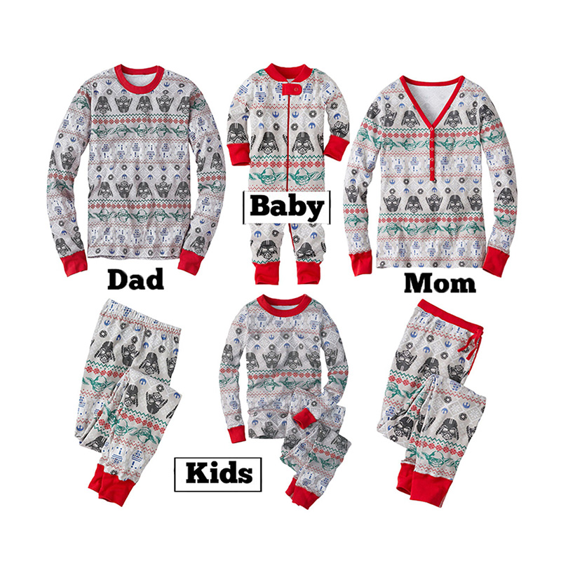 Lovely Family Printed Grey Mother Two-piece Pants Set