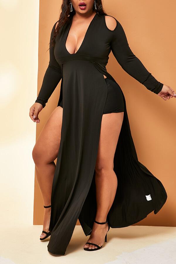 Lovely Casual V Neck Side High Slit Black Floor Length Plus Size Dress(Without Belt)