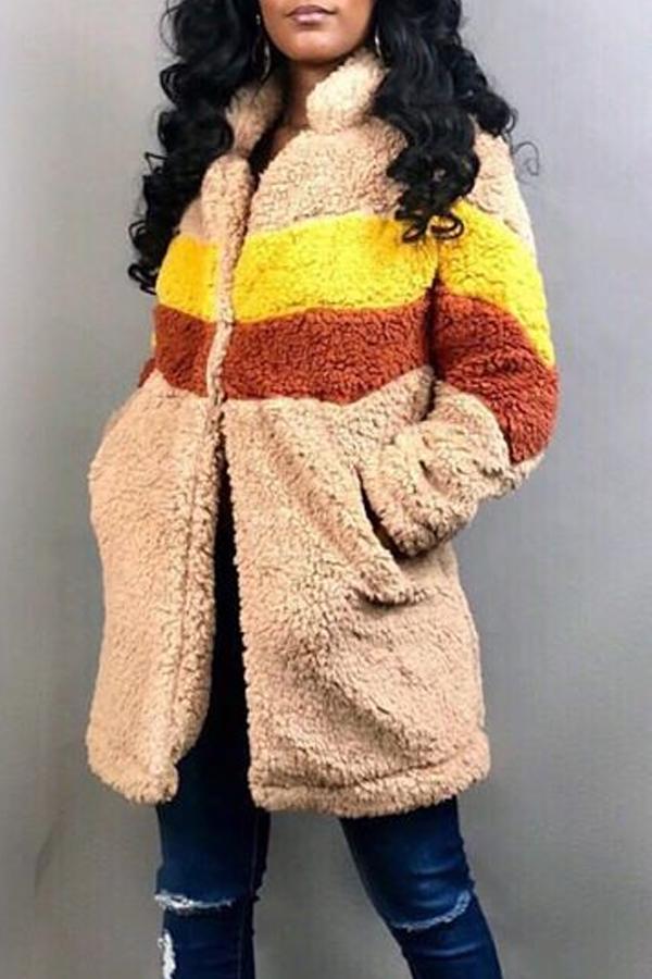 Lovely Winter Patchwork Beige Long Coat