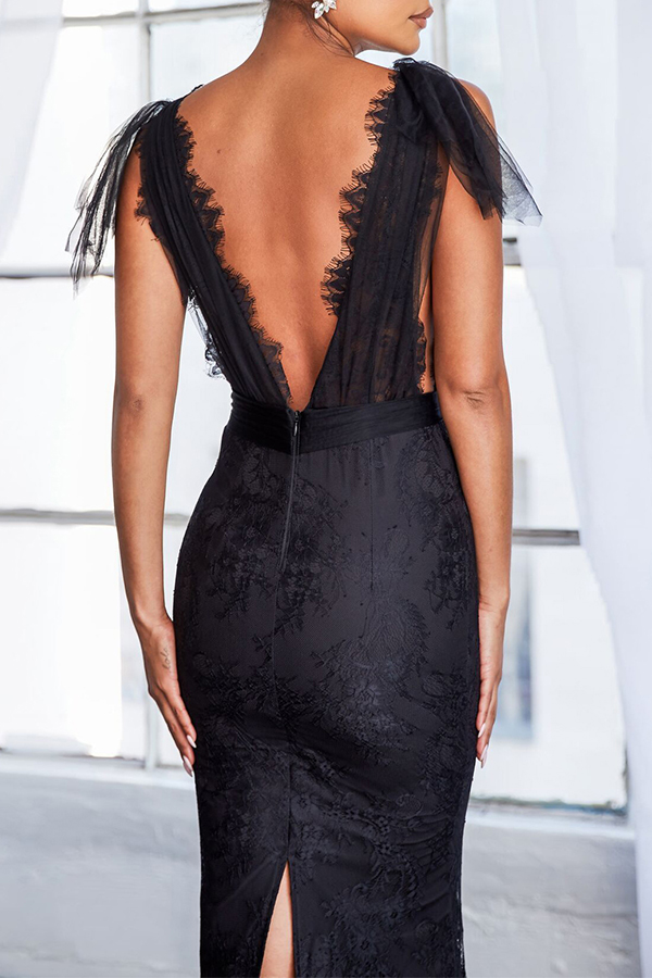 Lovely Party See-through Backless Black Trailing Prom Dress