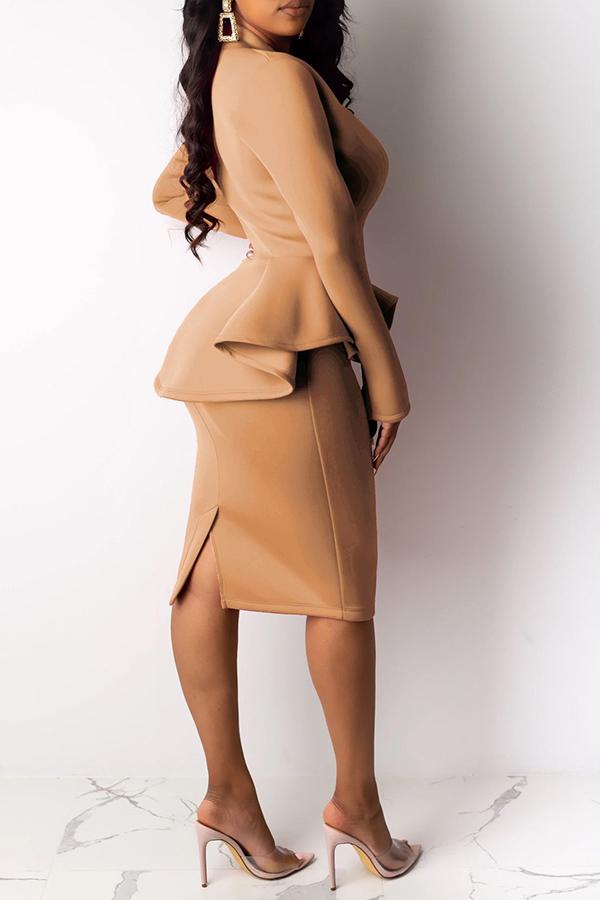 Lovely Work V Neck Flounce Design Khaki Two-piece Skirt Set(Without Belt)