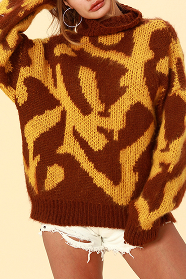 Lovely Chic Color-lump Brown Sweater