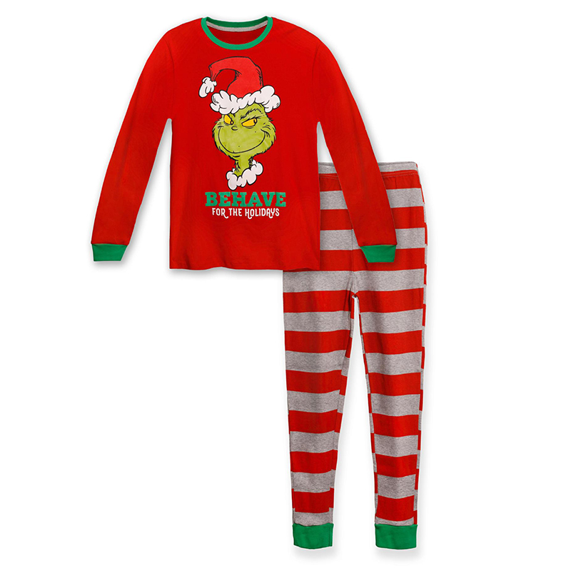 Lovely Family Santa Claus Red Kids Two-piece Pants Set