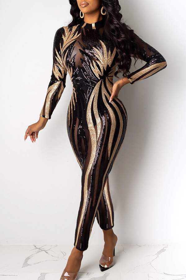 Lovely Sexy See-through Patchwork Black One-piece Jumpsuit