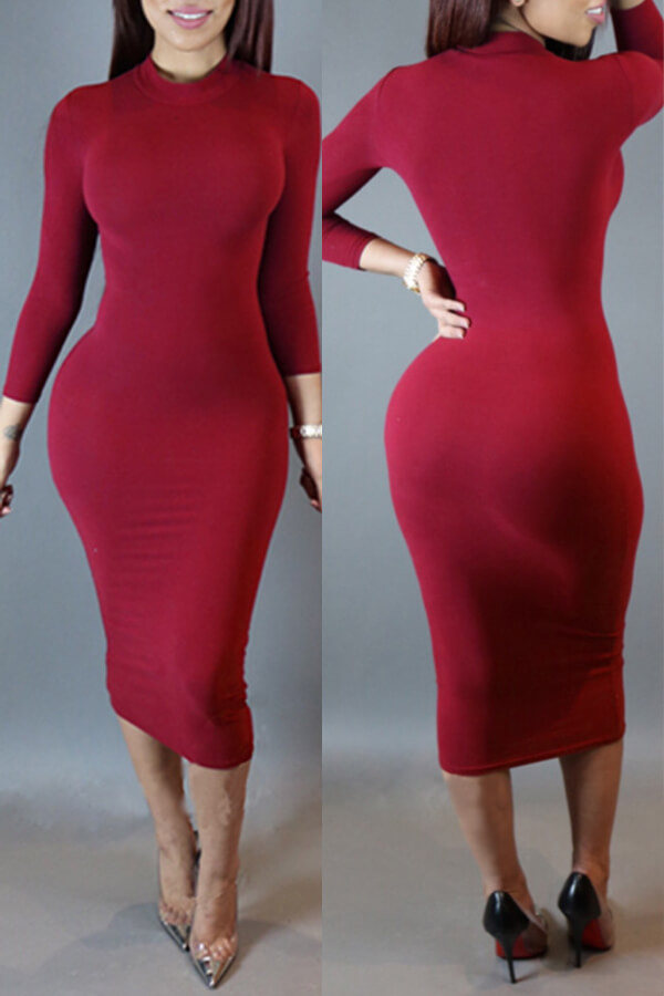 Lovely Leisure Skinny Purplish Red Knee Length Dress