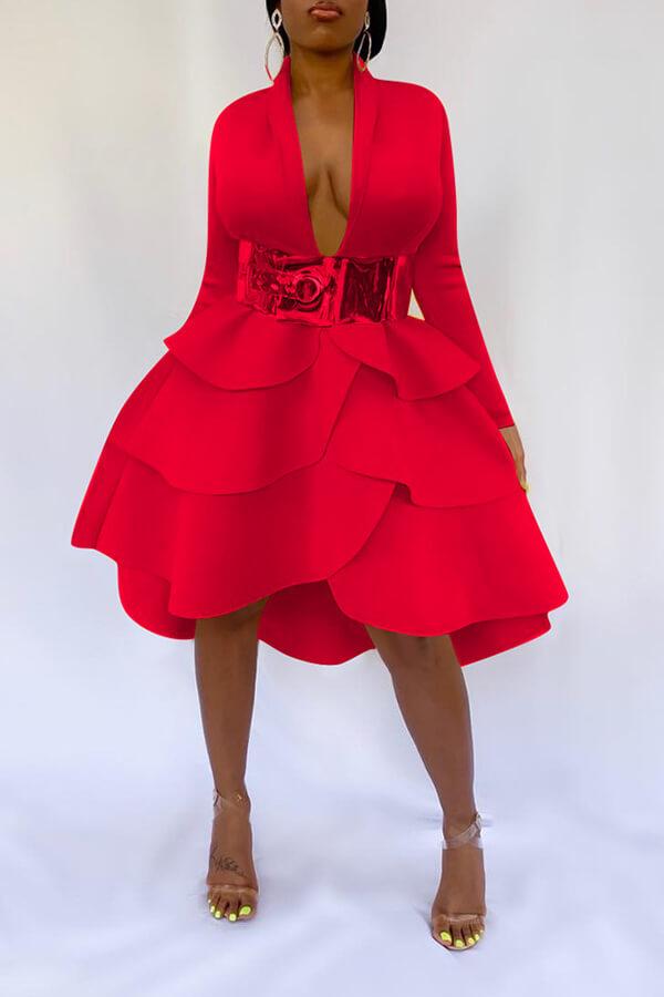 Lovely Sweet V Neck Flounce Design Red Knee Length Dress(Without Belt)