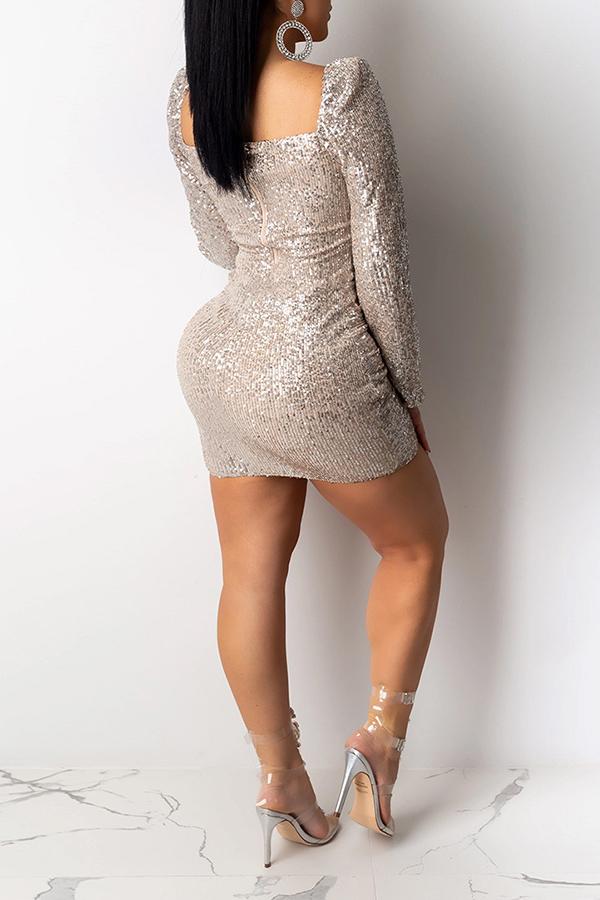 Lovely Sweet V Neck Champagne Mini Prom Dress