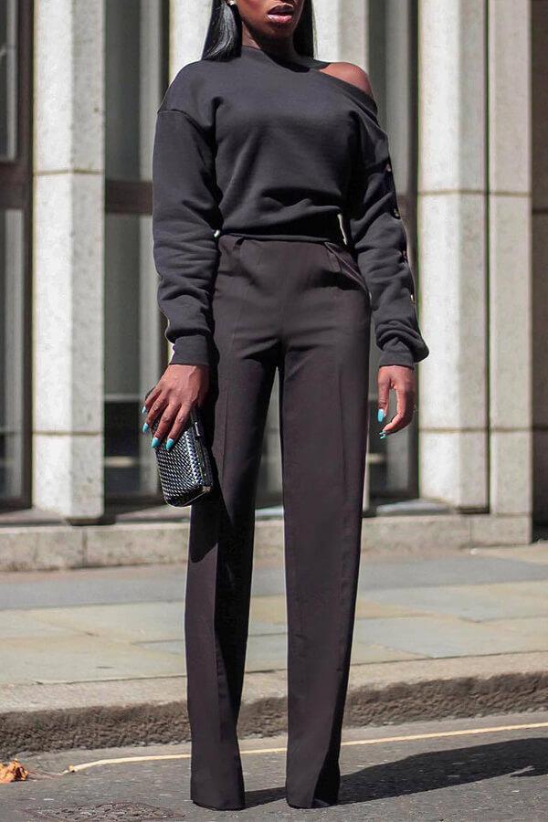 LW Trendy Long Sleeves Black Sweatshirt Hoodie