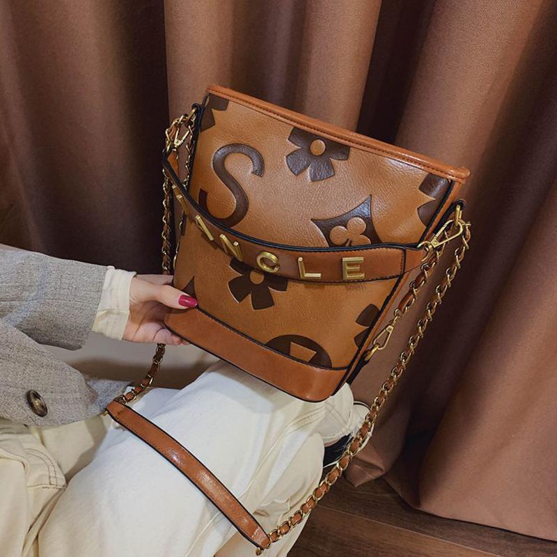 Lovely Trendy Letter Brown Messenger Bag