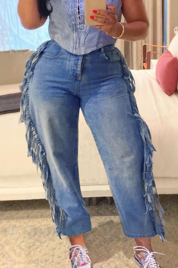Lovely Casual Tassel Design Blue Jeans