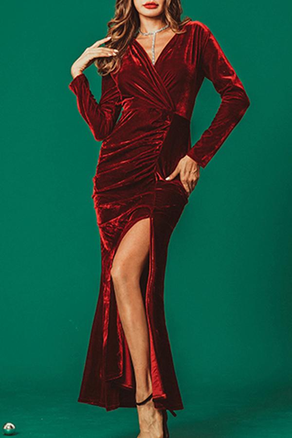 Lovely Elegant Forking Wine Red Pleuche Ankle Length Dress