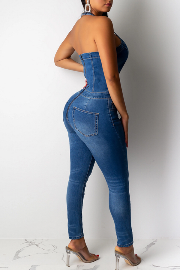 Lovely Casual Cross-over Design Blue One-piece Jumpsuit