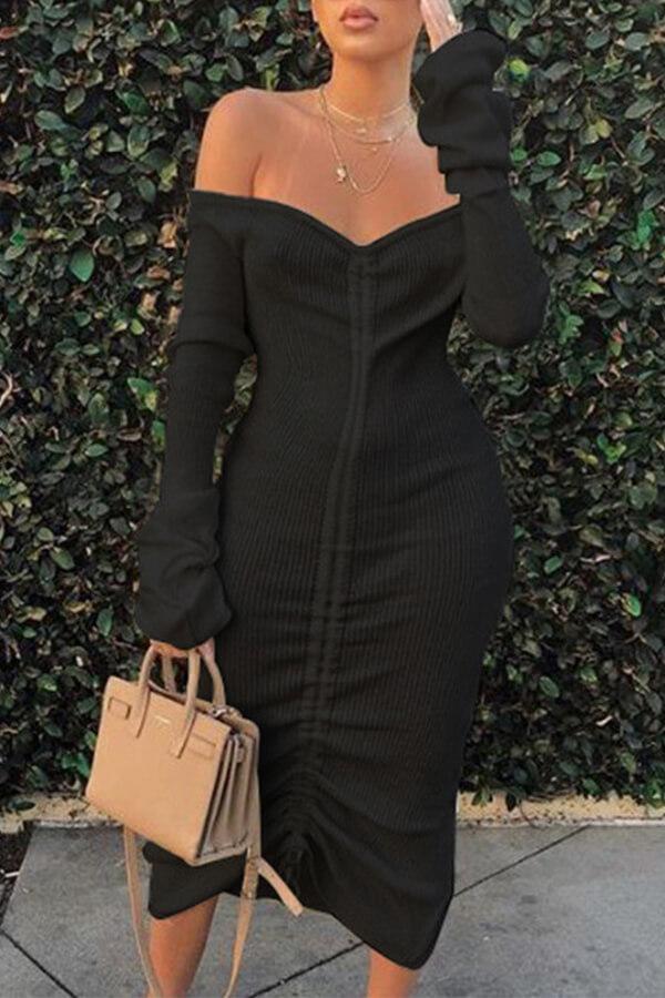 Lovely Trendy Dew Shoulder Black Mid Calf Dress фото