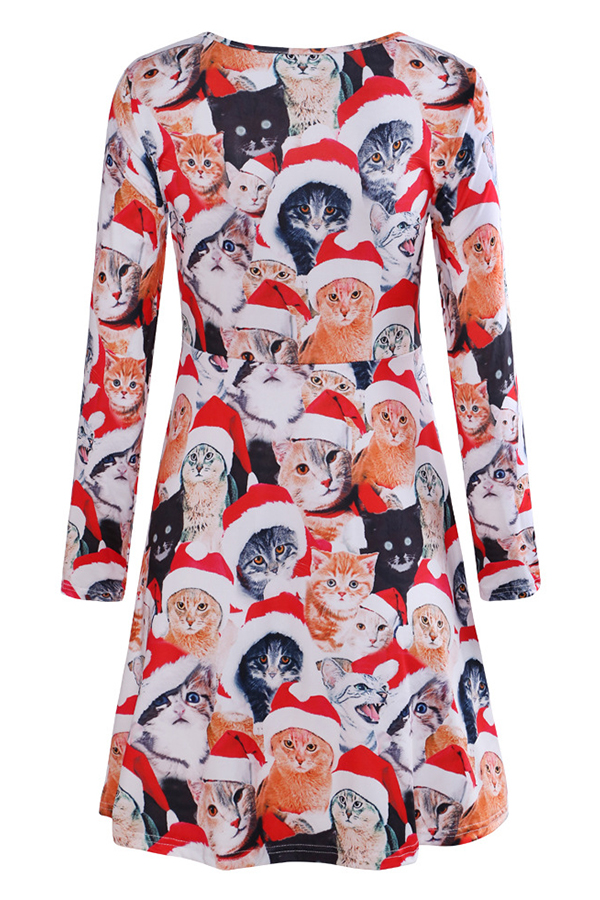 Lovely Christmas Day Printed Red Knee Length Dress