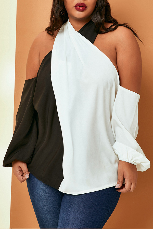 Lovely Casual Patchwork Black And White Plus Size Blouse
