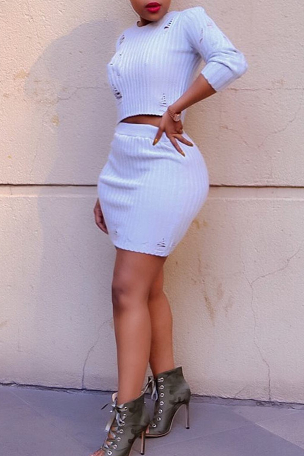Lovely Sexy O Neck Skinny White Two-piece Skirt Set