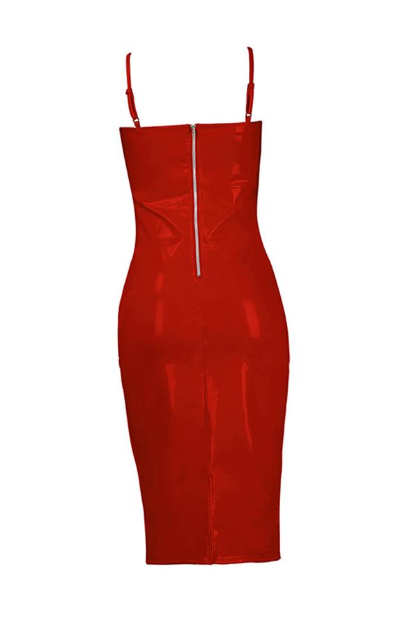 Lovely Sexy V Neck Skinny Red PU Knee Length Dress