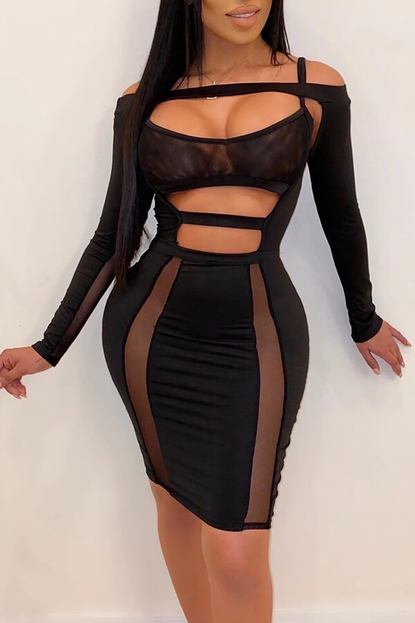 Lovely Sexy Hollow-out Black Mini Dress