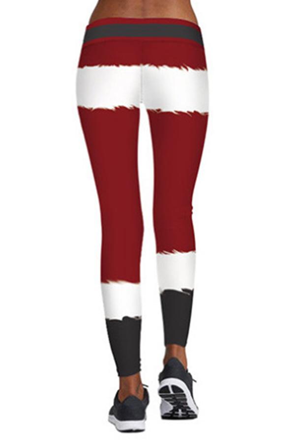 Lovely Christmas Day Printed Red Leggings