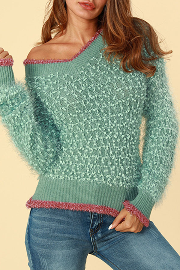 Lovely Casual Patchwork Green Sweaters