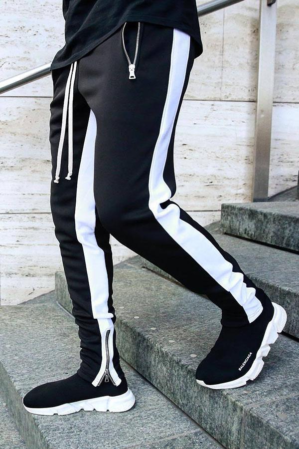 Lovely Street Patchwork Black Pants