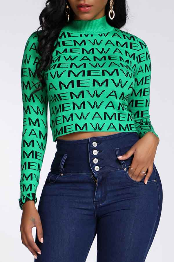 Lovely Casual Letter Printed Green Sweater