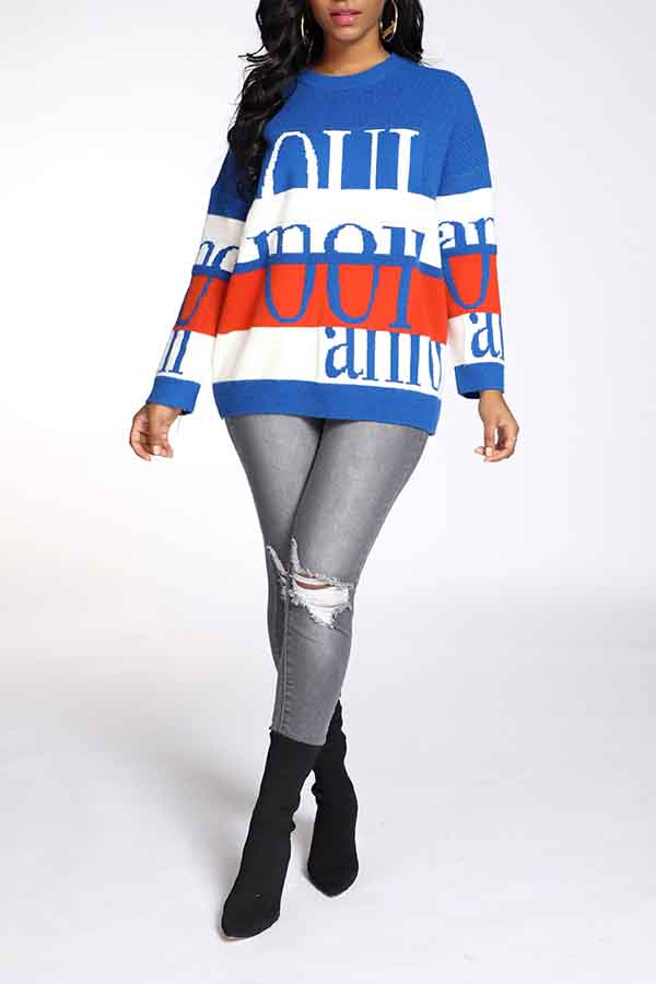 Lovely Casual Letter Blue Sweater