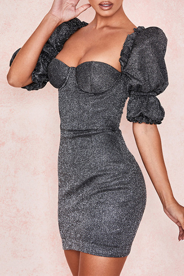 Lovely Sweet Patchwork Black Mini Dress