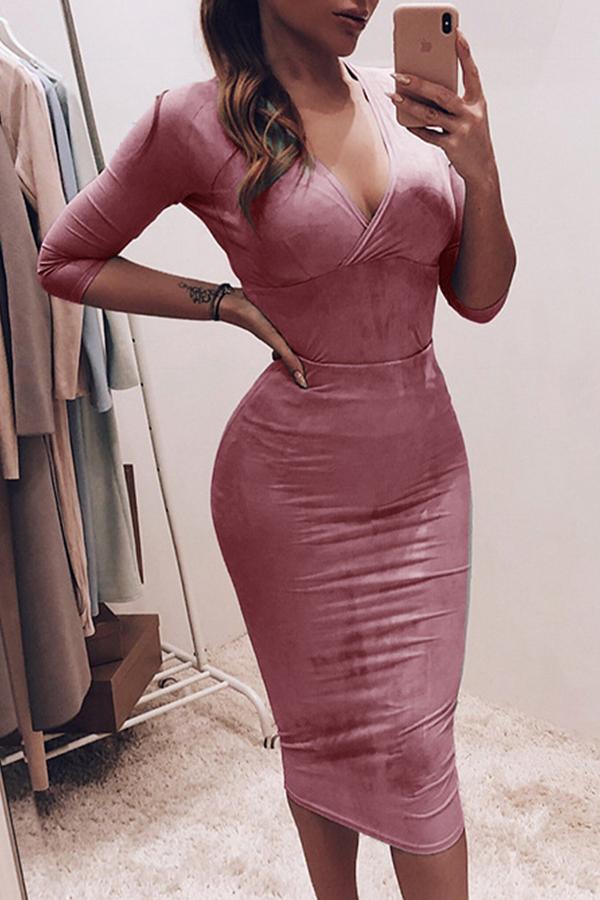 Lovely Leisure V Neck Dark Pink Knee Length Dress