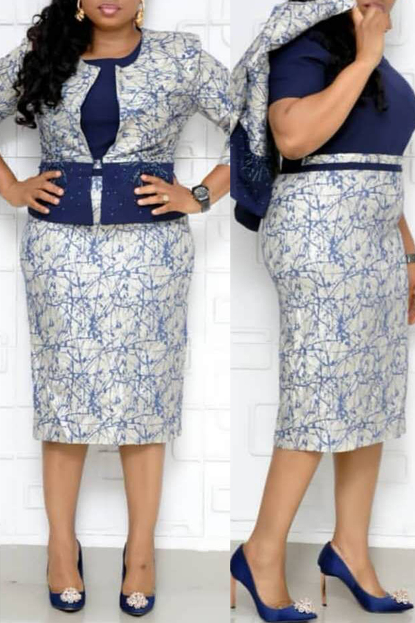 Lovely Casual Printed Blue Plus Size Two-piece Skirt Set