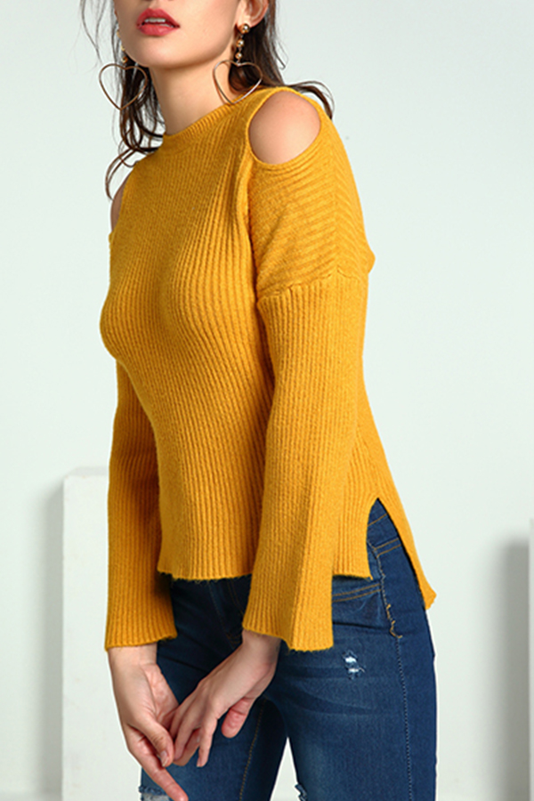 Lovely Casual Dew Shoulder Yellow Knitting Sweaters