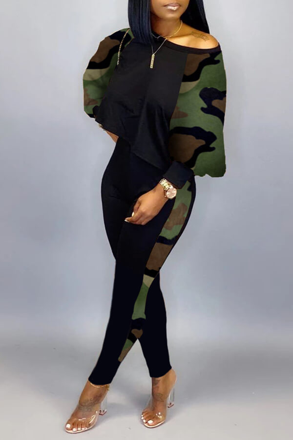 Lovely Casual Camouflage Printed Two-piece Pants Set