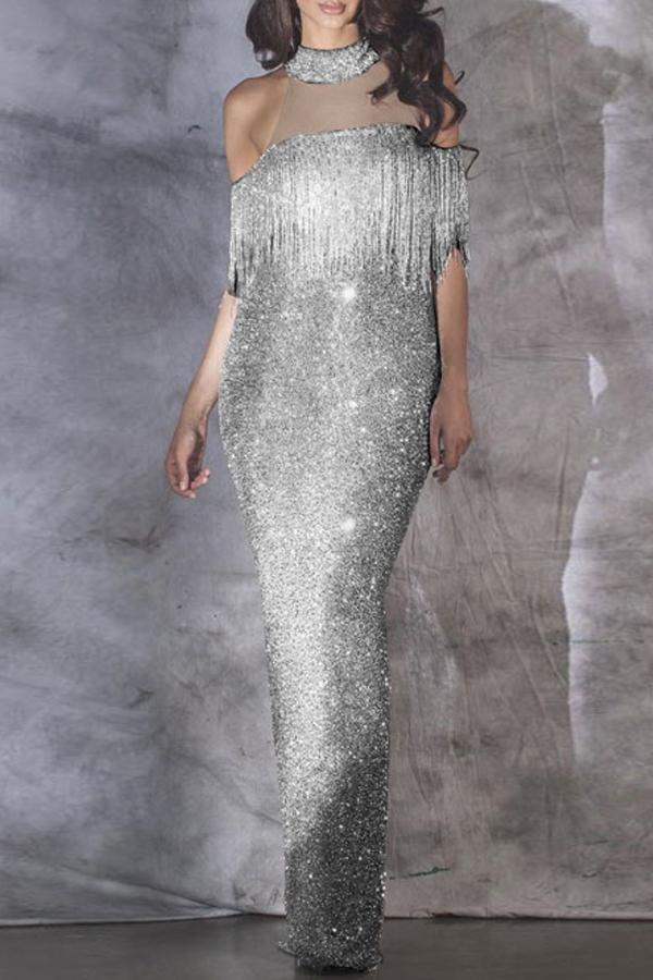 Lovely Party Tassel Design Silver Ankle Length Prom Dress