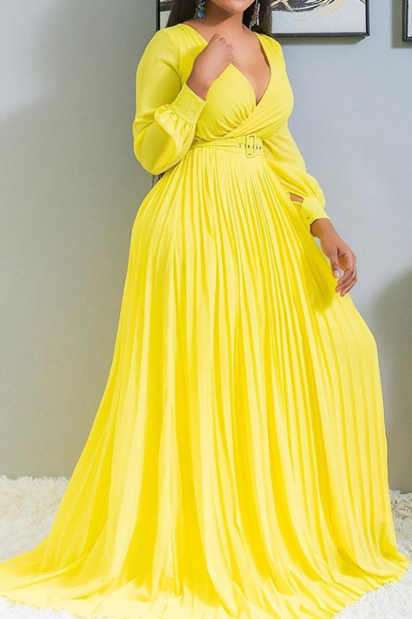 Lovely Casual Ruffle Design Yellow Floor Length Plus Size Dress