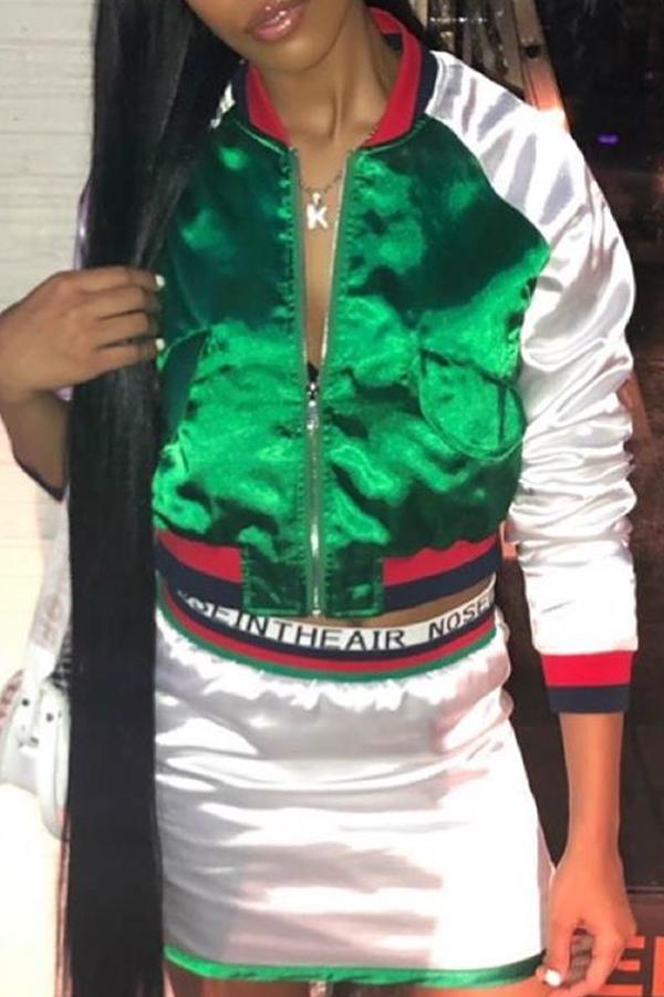 Lovely Trendy Patchwork Green Coat