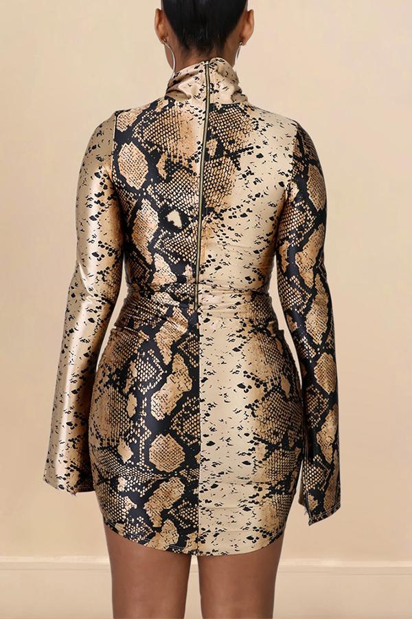Lovely Casual Turtleneck Skinny Khaki Mini Dress